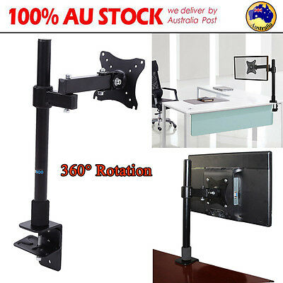 "13-27"" Single Screen LCD LED Monitor Desk Stand Mount Pole Bracket VESA Swivel"