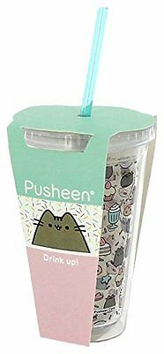Pusheen bicchiere con cannuccia