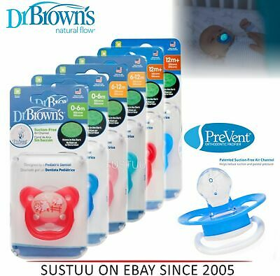 Dr Brown's Options Prevent Glow In Dark Orthodontic Baby Soother New Improved