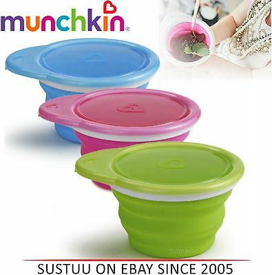 Munchkin Go Silicone Bowl Baby Travel Collapsible Feeding Non-Spill Snacker Bowl