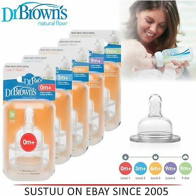 Dr Brown's New Improved Baby Options Bottle Silicone Level 1,2,3,4,Y Teats 2 PK