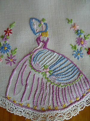 CRINOLINE LADY w/ Flowers Vintage Hand Embroidered Small Doily