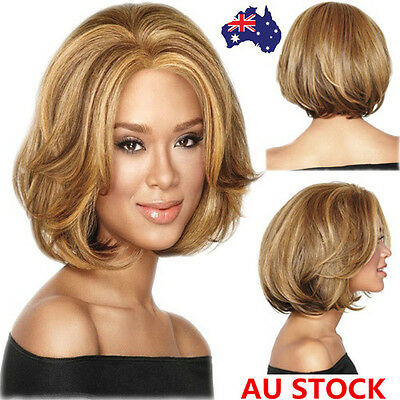 Women Short Light brown Curly Wave Hair Synthetic Wig Cosplay Party Wig+ Wig Cap