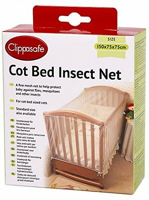 Clippasafe Cot Baby Bed Insect Net Mosquito Curtain 150x75x75cm BRAND NEW
