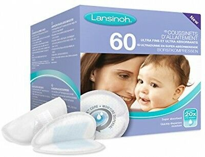 Lansinoh Disposable Nursing Pads Ultra Thin Super Absorbent 60 Pieces NEW
