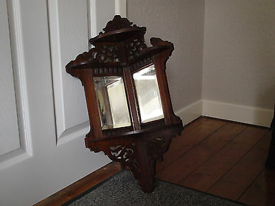 Victorian/19th Century Corner Shelves With Fretwork and Bevelled Mirrors