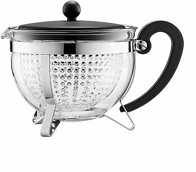 Bodum Chambord Heat Resistant Tea Coffee Tea Pot With Filter, 1.0L, Black