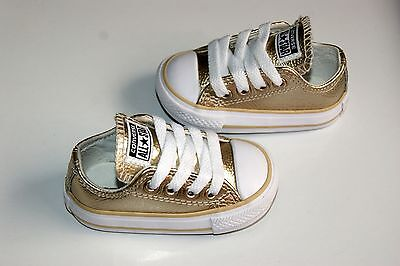 Baby Girls Gold Converse Size Infant UK 3