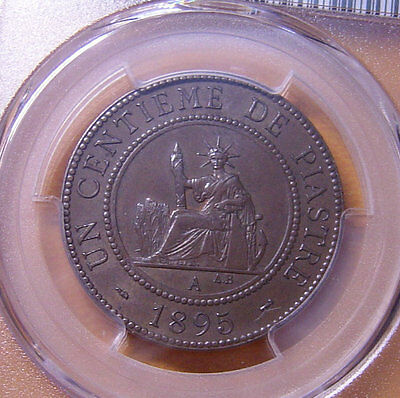 French Indo-China Cent 1895 Bronze PCGS MS63 Nice one year type coin Very Rare
