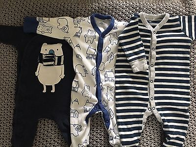 Next Baby Boys Sleepsuits 3 Pack 0-3 Months Blue Bear �� Stripes