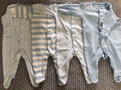 Next Baby Boys Sleepsuits 4 Pack 0-3 Months Blue Stripes stars ✨