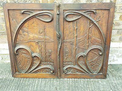 Pair of Antique French Art Nouveau Cabinet Panels Arts & Crafts organic