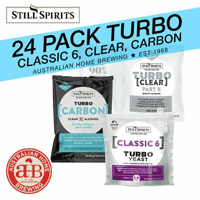 24 PACK Still Spirits Turbo Classic 6 Yeast Turbo Carbon Turbo Clear home brew