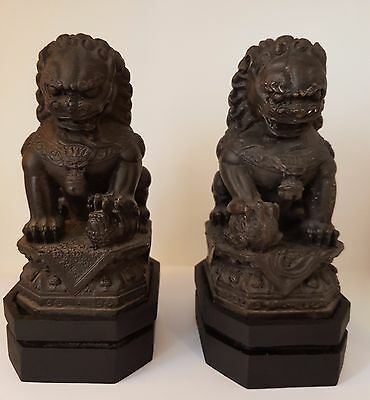A pair of Vintage / Antique Foo Dogs / Foo Lions in hot cast Brass