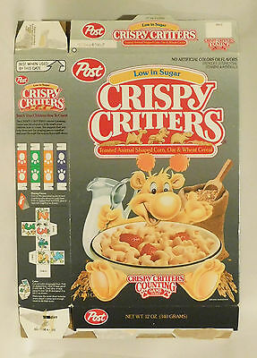 VTG RARE Post Crispy Critters Cereal Box Animal-shaped cereal 1992