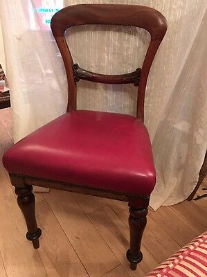 Antique Wood And Leather Balloon Back Hall Chair