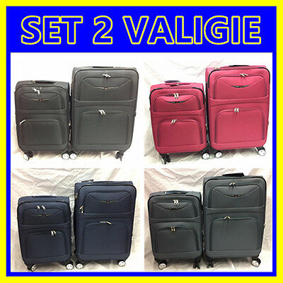 Set 2 Valigie Trolley Rigide In Poliestere Con 8 Ruote Media E Bagaglio A Mano