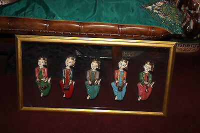 Antique Vintage India Chinese Wood Carved Musician Figures-5 Figures-Colorful