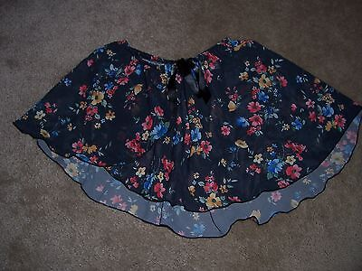 Girls BODY WRAPPERS Blue Floral Dance Skirt Size Medium Large