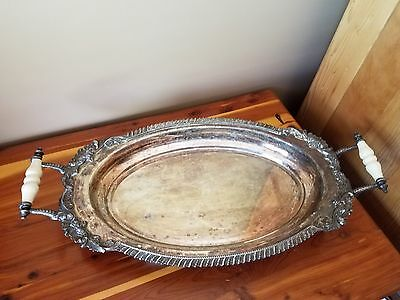 Vintage Silver Plate Crown CSC Serving Platter 24 in long, very nice piece