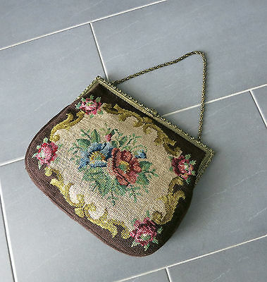 VINTAGE GOBELIN HANDTASCHE_1950`s Germany_LARGE HANDBAG_NEEDLEPOINT/ BRASS_BROWN
