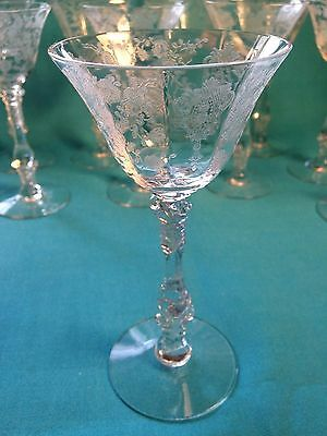 """Cambridge Rose Point elegant clear glass 3121 Cocktail Wine stem 6"""" tall 10 aval"""