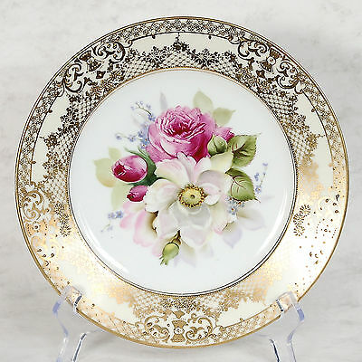 "Noritake Handpainted Plate - 8-5/8"" Handpainted Flowers/gilded Designs"