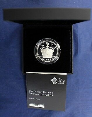 "2015 Silver Proof £5 Crown ""Longest Reigning Monarch"" in Case with COA   (Z7/18)"