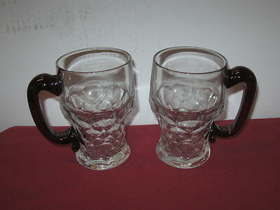 Duncan Miller Glass  -- Georgian --  Mugs (2), Clear With Applied Ruby Handle