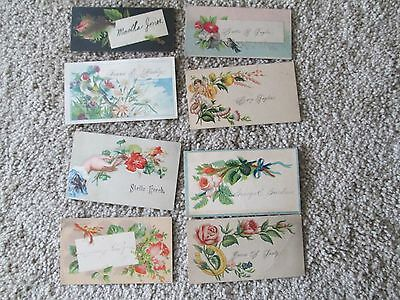 Lot of 8 Victorian Calling Cards Bird Flowers Horseshoe Purity