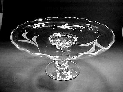 """Viking Crystal """"PRINCESS"""" #5200 Cut Frosted Leaves Pedestal Cake Stand 10"""" Wide"""