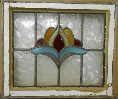 """OLD ENGLISH LEADED STAINED GLASS WINDOW Colorful Floral Abstract 20.75"""" x 17.75"""""""