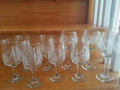 Arby's Christmas Wine Water Glasses Set of 9