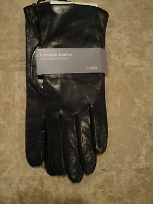 Apt 9 Casmere Lined Black Leather Womens Gloves NWT!!! Size M