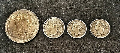 Lot of 4 British Honduras Coins 1894-1904, 1 cent, 5 cent, 10 cent