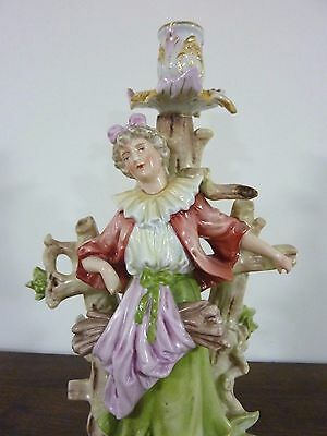 Antique MEISSEN Porcelain Figural Lady At Fence Candleholder BLUE CROSSED SWORDS
