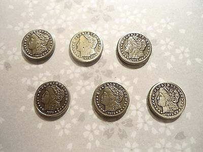 6 Silverplated 1878 10mm Morgan Dollar Charms Findings Novelty
