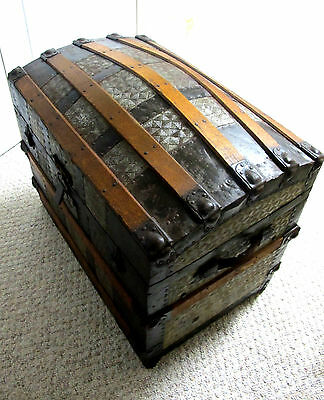 Ant~Humpback Trunk~Metal & Wood~Brides Wardrobe W/tray~Funky Funtastic Primitive