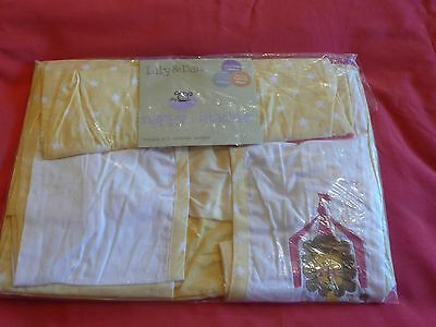 Nappy stacker, yellow and white, lion face detail, cotton, washable, new