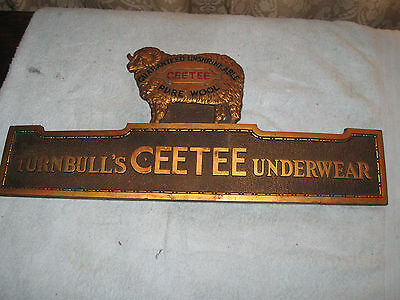 Very Rare Vintage Turnbull's CEETEE Underwear Pure Wool Advertising Plaque
