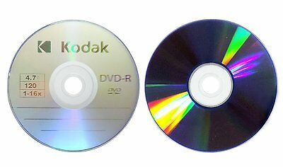 25-Pack Kodak 16X Logo Blank DVD-R Recordable Disc Media 4.7GB with Paper Sleeve