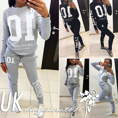 2Pcs Set Womens Tracksuit Loungewear Ladies Jogger Jogging Knit Pants Sweatshirt