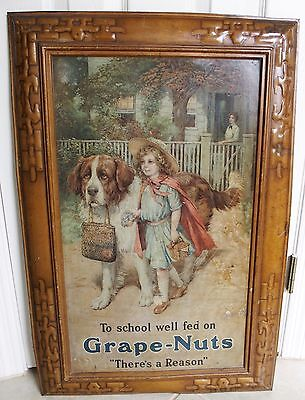 """1910 C.w. Post Large Self Framed Tin Sign """"there's A Reason"""" Grape-Nuts Girl Dog"""