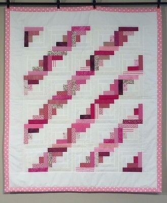 Handmade Flower Baby Girls Quilt Baby Quilt Lap Throw Blanket Cotton Pink NEW