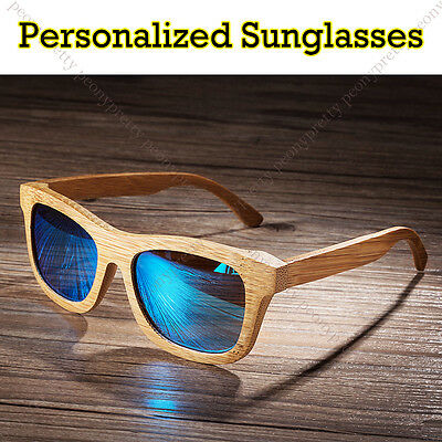 Personalised Bamboo Wooden Sunglasses Mirrored Lens Groomsmen Birthday Gift u