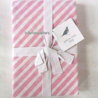 SERENA & LILY CANDY STRIPE CRIB SKIRT DUST RUFFLE Pink Striped COTTON NEW
