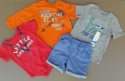 Lot of 4 Boys 24m Place Long Sleeve & Jumping Beans T-shirt, One-Piece, & Shorts