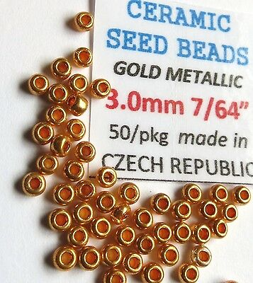 "50) 5/64"" GOLD Seed Beads 2.0mm (for tying midge & micro nymph #20, 18, 16)"