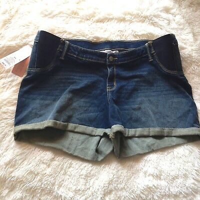 Liz Lange Maternity Midi Denim Shorts Cuffed XXL Side Panel Under Belly NWT