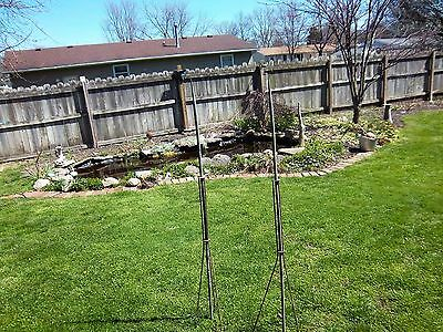 2 vtg antique copper farm barn 5 foot lightning rods cast iron stands